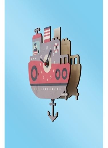 Peoples Clock Tugboat Sallanan Sarkaçlı Çocuk Odası Duvar Saati Renkli